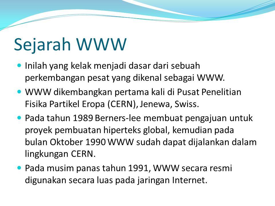 Sejarah WWW Inilah yang kelak menjadi dasar dari sebuah perkembangan pesat yang dikenal sebagai WWW. WWW dikembangkan pertama kali di Pusat Penelitian