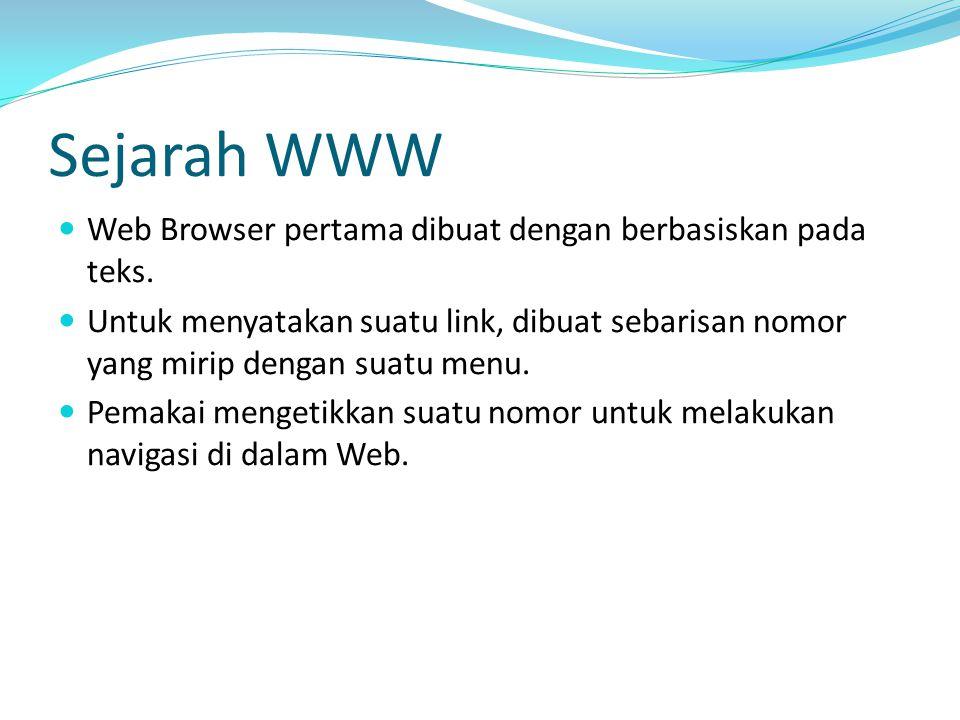 Sejarah WWW Web Browser pertama dibuat dengan berbasiskan pada teks. Untuk menyatakan suatu link, dibuat sebarisan nomor yang mirip dengan suatu menu.