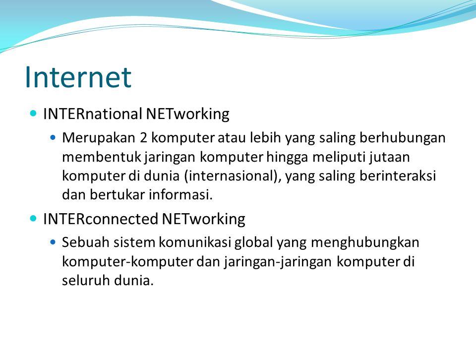 Internet INTERnational NETworking Merupakan 2 komputer atau lebih yang saling berhubungan membentuk jaringan komputer hingga meliputi jutaan komputer