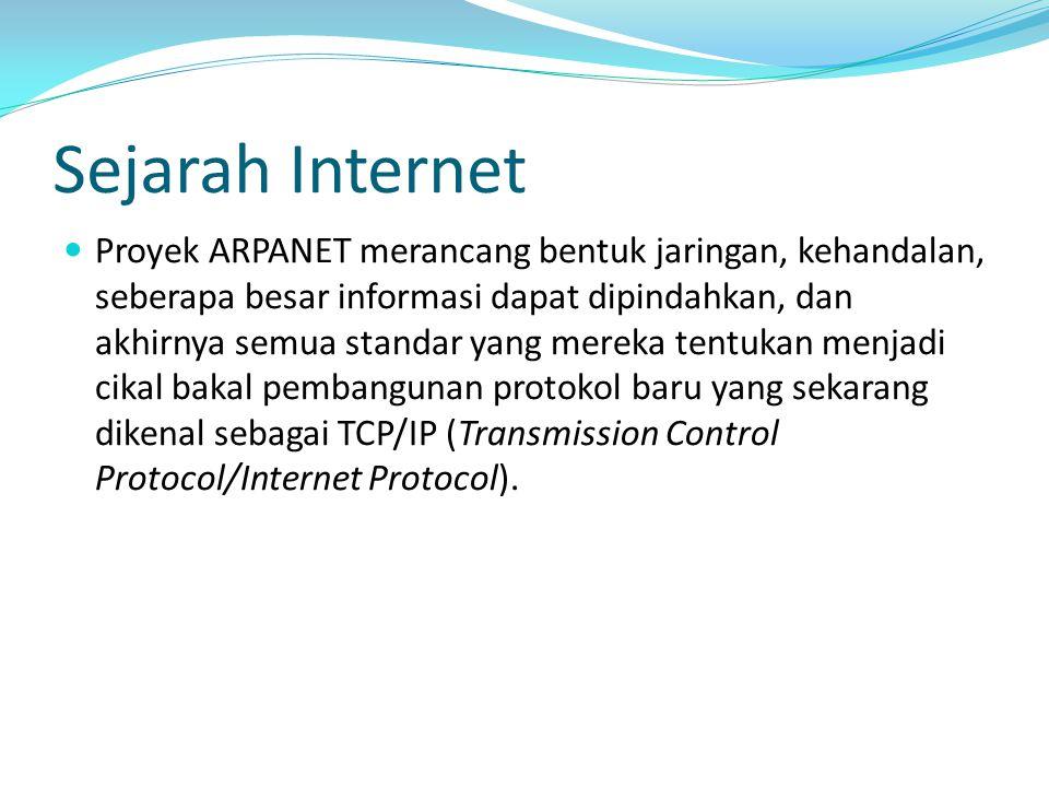 Sejarah Internet Proyek ARPANET merancang bentuk jaringan, kehandalan, seberapa besar informasi dapat dipindahkan, dan akhirnya semua standar yang mer