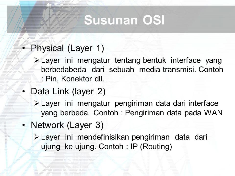 Susunan OSI Physical (Layer 1)  Layer ini mengatur tentang bentuk interface yang berbedabeda dari sebuah media transmisi. Contoh : Pin, Konektor dll.