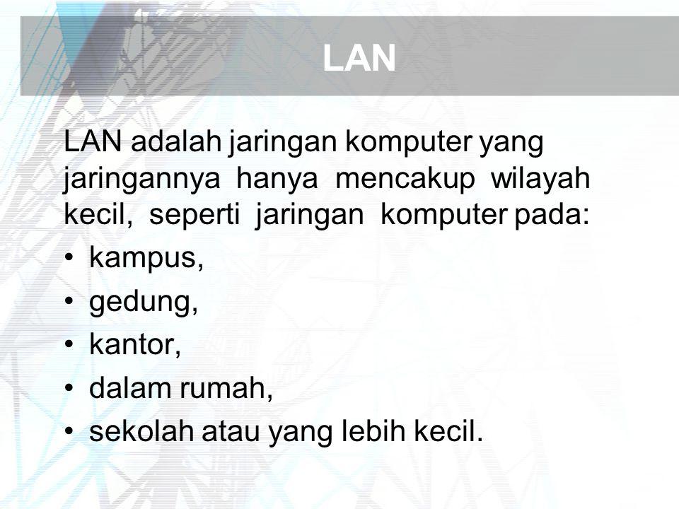 LAN LAN adalah jaringan komputer yang jaringannya hanya mencakup wilayah kecil, seperti jaringan komputer pada: kampus, gedung, kantor, dalam rumah, sekolah atau yang lebih kecil.