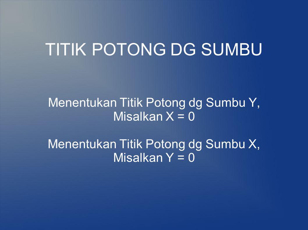 TITIK POTONG DG SUMBU Menentukan Titik Potong dg Sumbu Y, Misalkan X = 0 Menentukan Titik Potong dg Sumbu X, Misalkan Y = 0