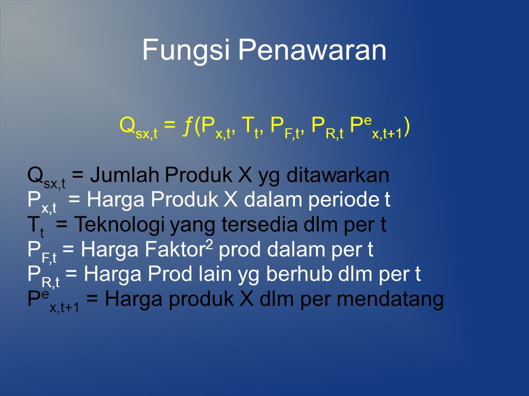 Fungsi Penawaran Q sx,t = ƒ(P x,t, T t, P F,t, P R,t P e x,t+1 ) Q sx,t = Jumlah Produk X yg ditawarkan P x,t = Harga Produk X dalam periode t T t = T