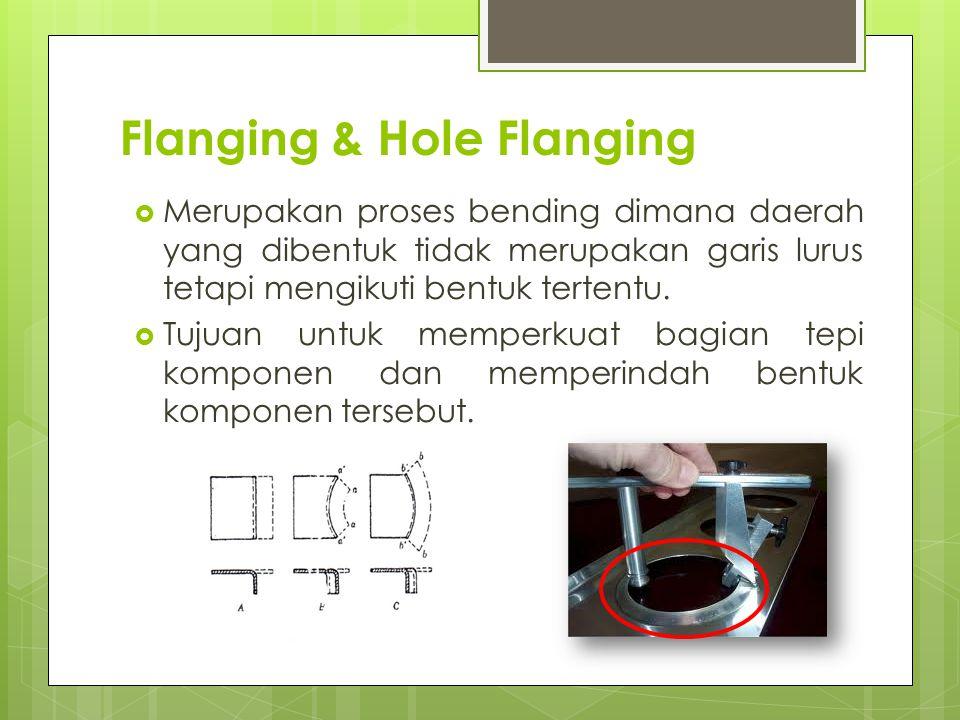 Flanging & Hole Flanging  Merupakan proses bending dimana daerah yang dibentuk tidak merupakan garis lurus tetapi mengikuti bentuk tertentu.  Tujuan