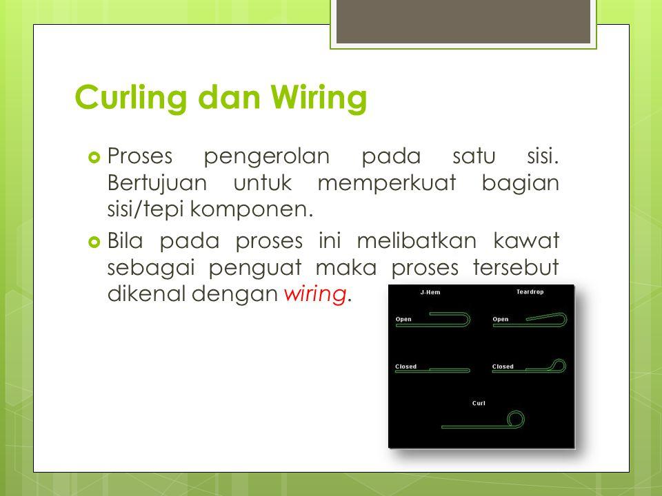 Curling dan Wiring  Proses pengerolan pada satu sisi. Bertujuan untuk memperkuat bagian sisi/tepi komponen.  Bila pada proses ini melibatkan kawat s