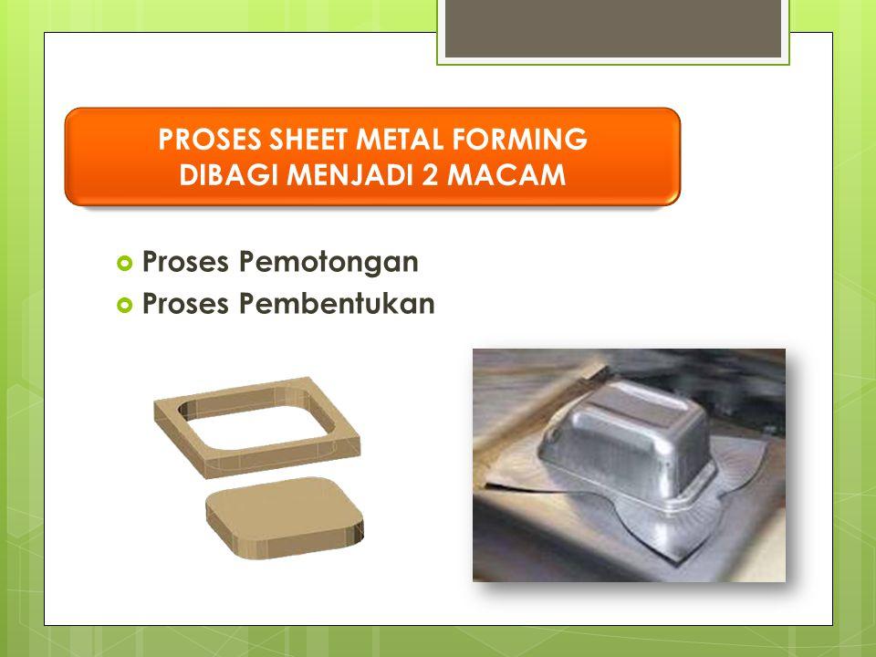 Proses Pemotongan  Proses Pembentukan PROSES SHEET METAL FORMING DIBAGI MENJADI 2 MACAM