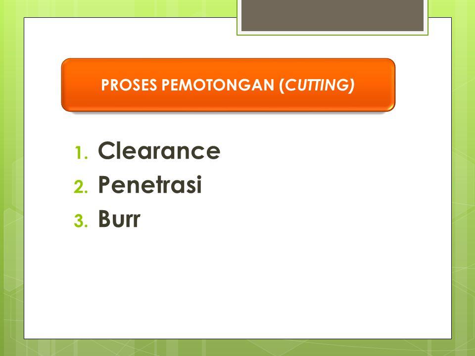 1. Clearance 2. Penetrasi 3. Burr PROSES PEMOTONGAN ( CUTTING)