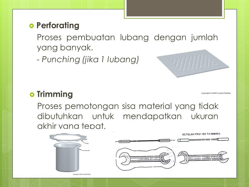  Perforating Proses pembuatan lubang dengan jumlah yang banyak. - Punching (jika 1 lubang)  Trimming Proses pemotongan sisa material yang tidak dibu