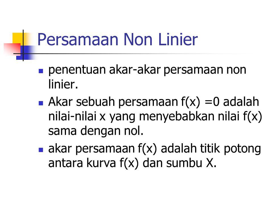Persamaan Non Linier penentuan akar-akar persamaan non linier. Akar sebuah persamaan f(x) =0 adalah nilai-nilai x yang menyebabkan nilai f(x) sama den