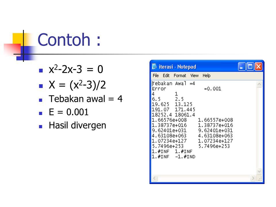 Contoh : x 2 -2x-3 = 0 X = (x 2 -3)/2 Tebakan awal = 4 E = 0.001 Hasil divergen