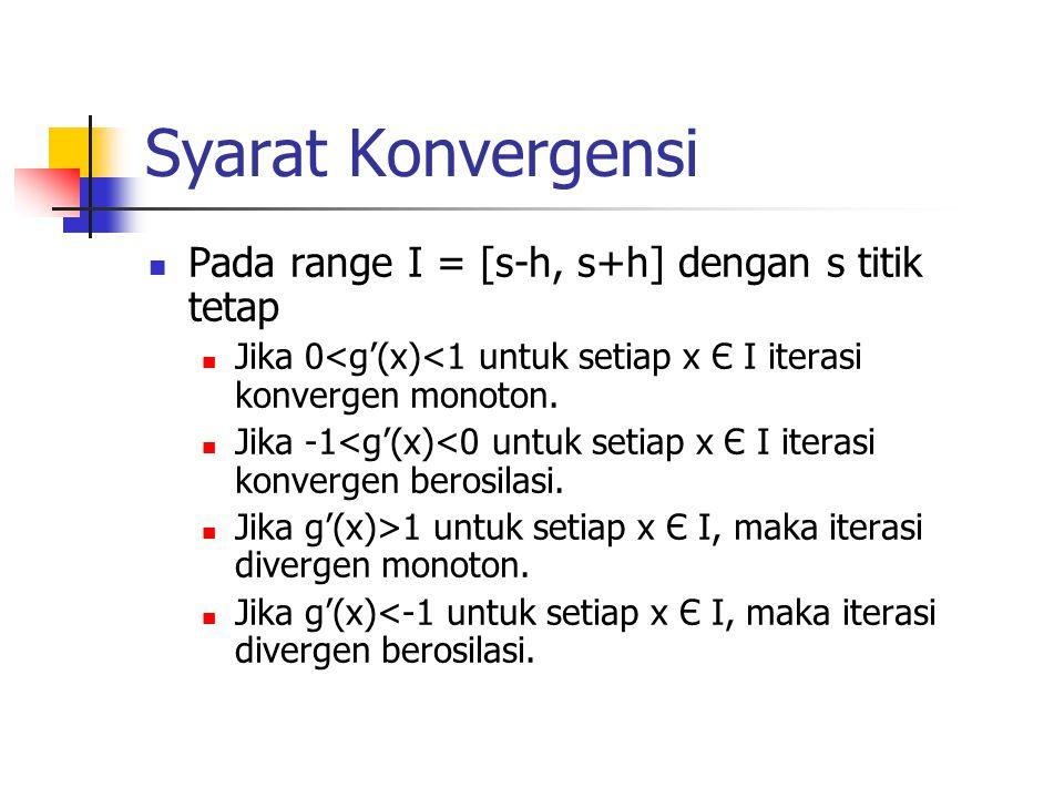 Syarat Konvergensi Pada range I = [s-h, s+h] dengan s titik tetap Jika 0<g'(x)<1 untuk setiap x Є I iterasi konvergen monoton. Jika -1<g'(x)<0 untuk s