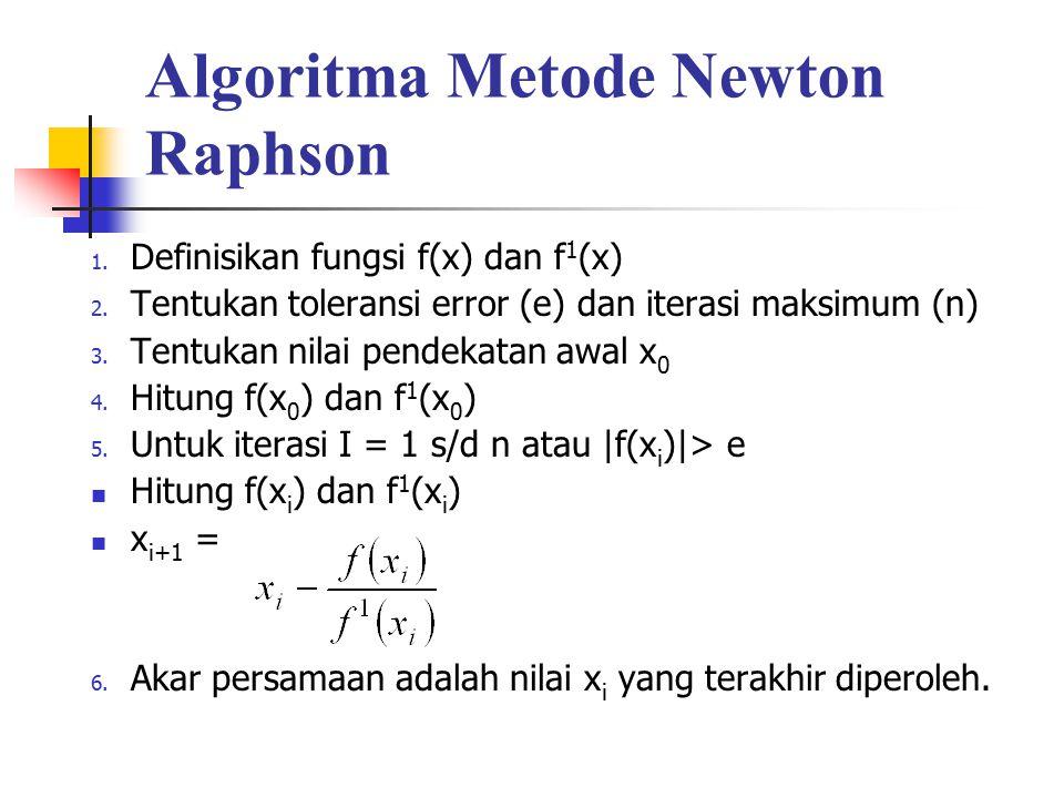 Algoritma Metode Newton Raphson 1. Definisikan fungsi f(x) dan f 1 (x) 2. Tentukan toleransi error (e) dan iterasi maksimum (n) 3. Tentukan nilai pend
