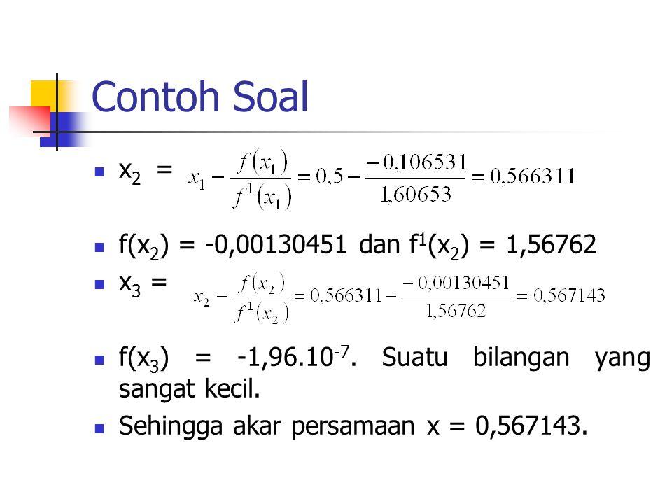 Contoh Soal x 2 = f(x 2 ) = -0,00130451 dan f 1 (x 2 ) = 1,56762 x 3 = f(x 3 ) = -1,96.10 -7. Suatu bilangan yang sangat kecil. Sehingga akar persamaa