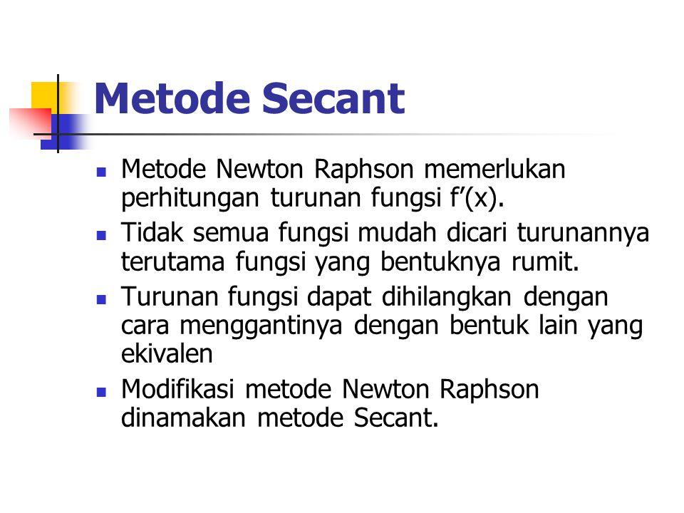Metode Secant Metode Newton Raphson memerlukan perhitungan turunan fungsi f'(x). Tidak semua fungsi mudah dicari turunannya terutama fungsi yang bentu