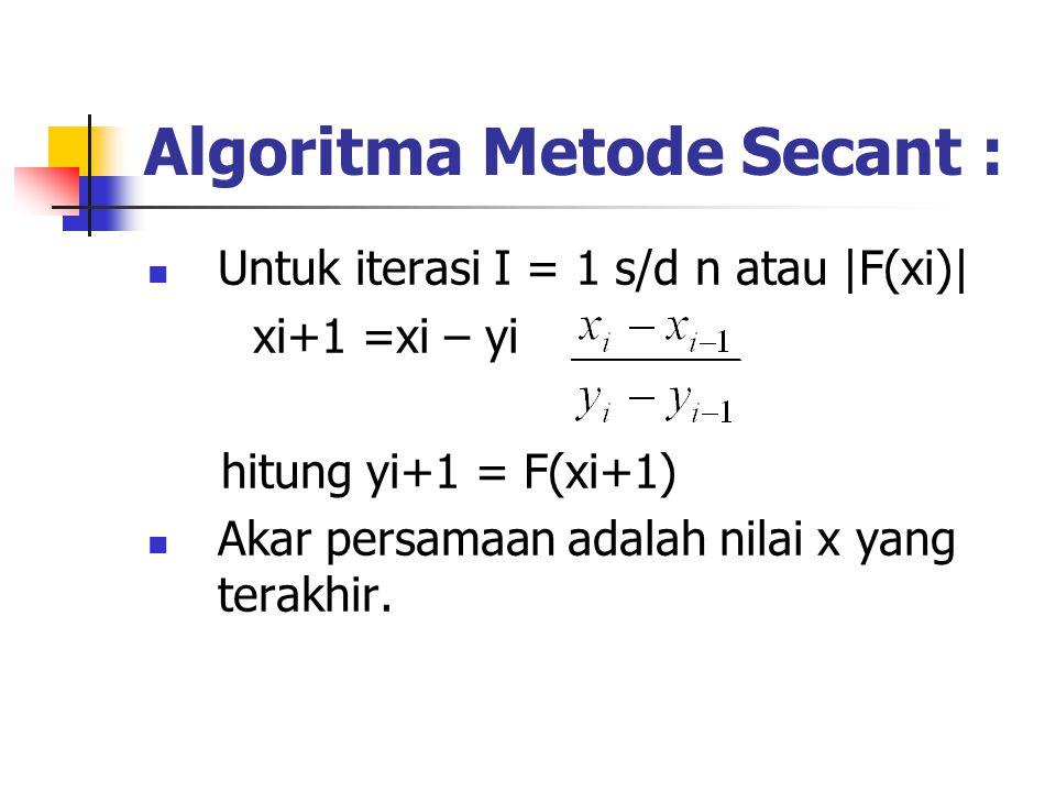 Algoritma Metode Secant : Untuk iterasi I = 1 s/d n atau |F(xi)| xi+1 =xi – yi hitung yi+1 = F(xi+1) Akar persamaan adalah nilai x yang terakhir.