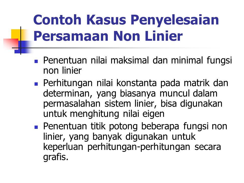 Contoh Kasus Penyelesaian Persamaan Non Linier Penentuan nilai maksimal dan minimal fungsi non linier Perhitungan nilai konstanta pada matrik dan dete