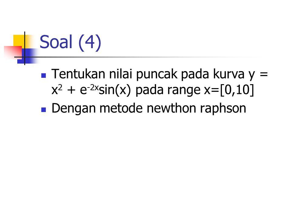Soal (4) Tentukan nilai puncak pada kurva y = x 2 + e -2x sin(x) pada range x=[0,10] Dengan metode newthon raphson