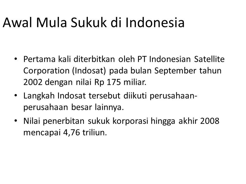 Awal Mula Sukuk di Indonesia Pertama kali diterbitkan oleh PT Indonesian Satellite Corporation (Indosat) pada bulan September tahun 2002 dengan nilai Rp 175 miliar.