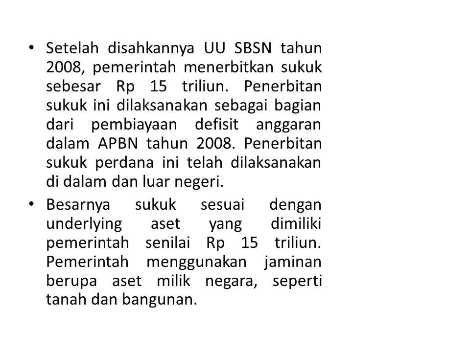 Setelah disahkannya UU SBSN tahun 2008, pemerintah menerbitkan sukuk sebesar Rp 15 triliun.