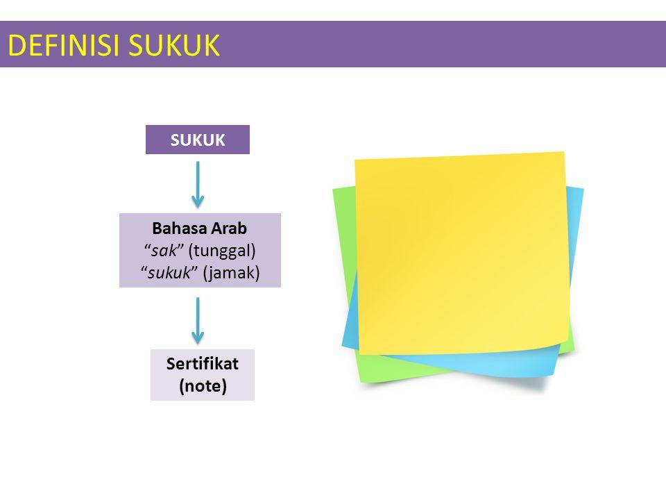 DEFINISI SUKUK SUKUK Bahasa Arab sak (tunggal) sukuk (jamak) Sertifikat (note)