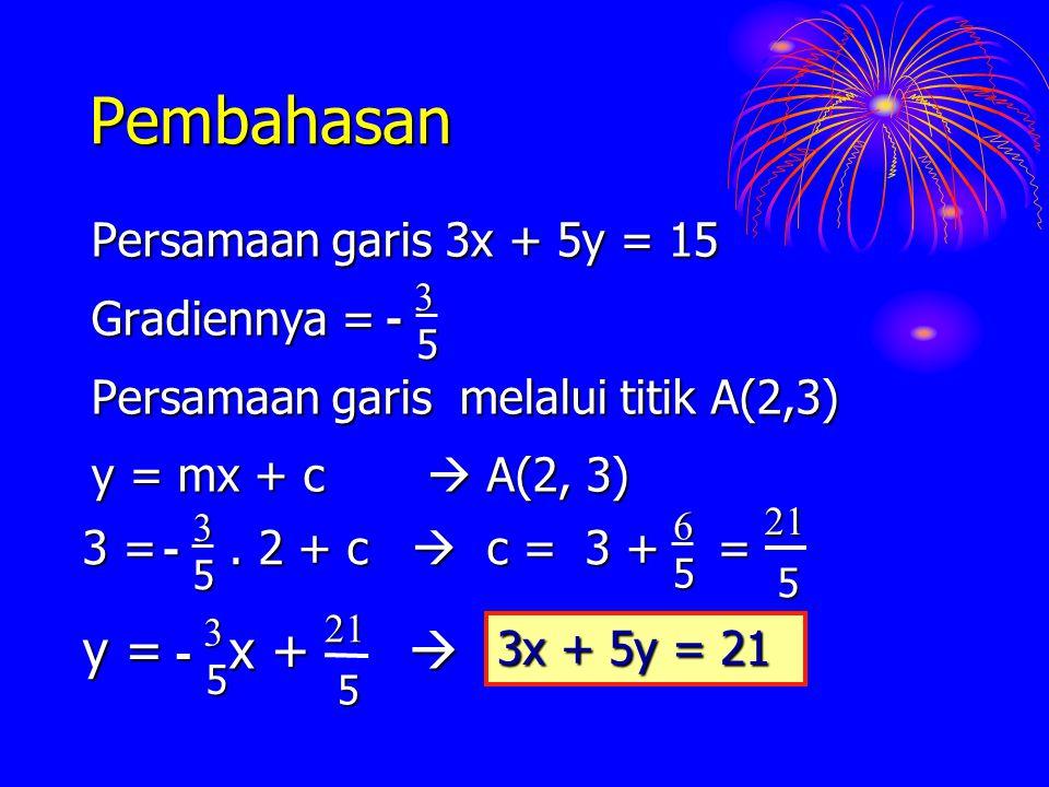 Pembahasan Persamaan garis 3x + 5y = 15 Gradiennya = Persamaan garis melalui titik A(2,3) y = mx + c  A(2, 3) 53- y = x +  5 3 - 521 3x + 5y = 21 5