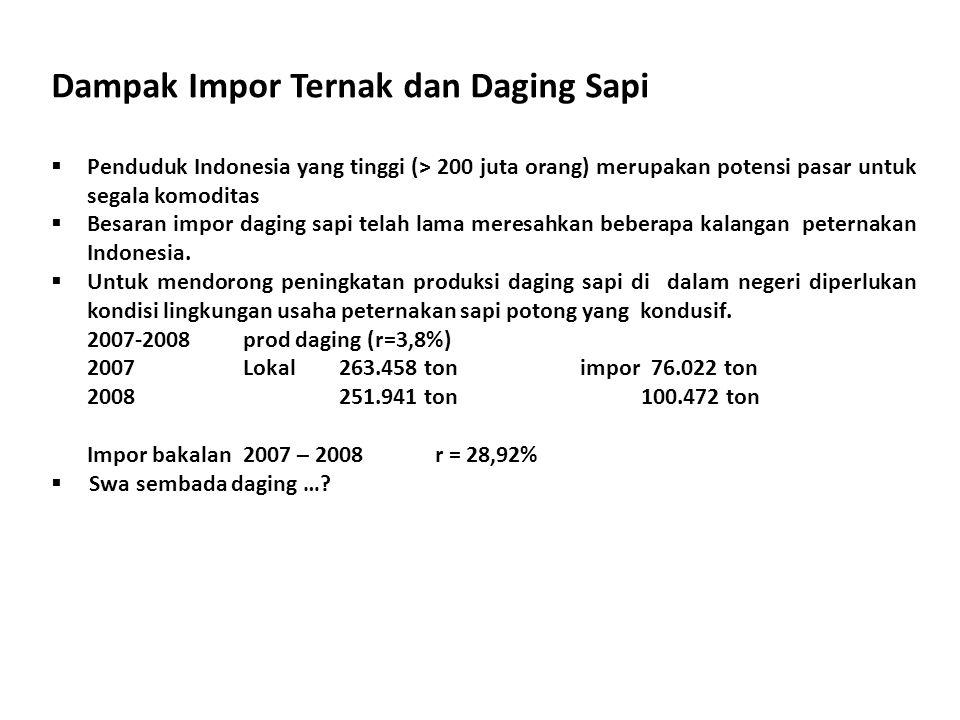 Dampak Impor Ternak dan Daging Sapi  Penduduk Indonesia yang tinggi (> 200 juta orang) merupakan potensi pasar untuk segala komoditas  Besaran impor