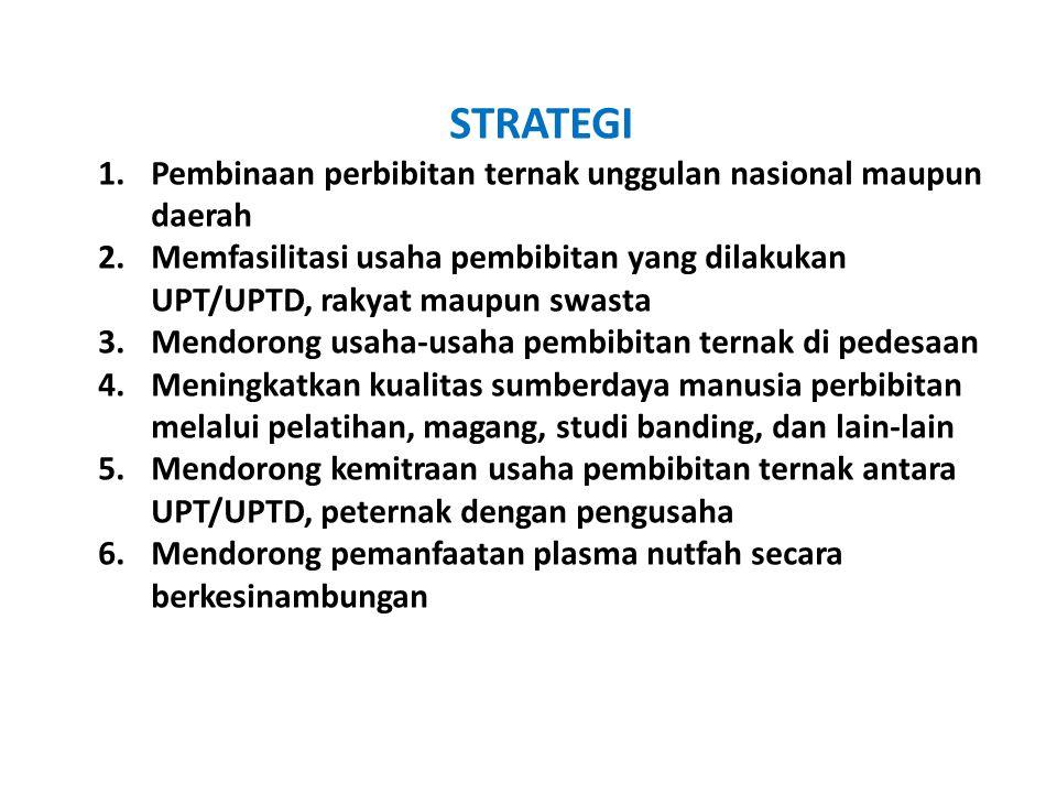 STRATEGI 1.Pembinaan perbibitan ternak unggulan nasional maupun daerah 2.Memfasilitasi usaha pembibitan yang dilakukan UPT/UPTD, rakyat maupun swasta