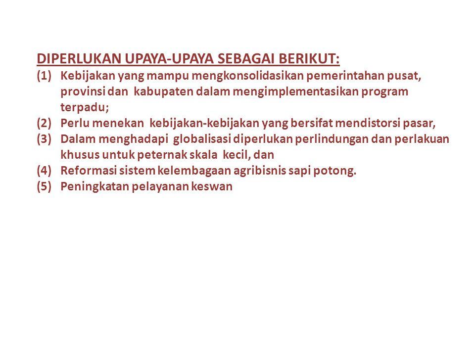 Dampak Impor Ternak dan Daging Sapi  Penduduk Indonesia yang tinggi (> 200 juta orang) merupakan potensi pasar untuk segala komoditas  Besaran impor daging sapi telah lama meresahkan beberapa kalangan peternakan Indonesia.