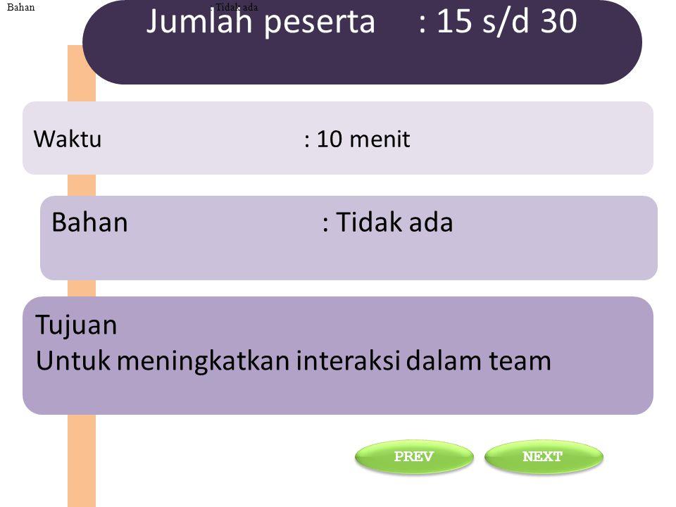 Tujuan Untuk meningkatkan interaksi dalam team Bahan : Tidak ada Waktu : 10 menit Jumlah peserta : 15 s/d 30 NEXT PREV Bahan : Tidak ada