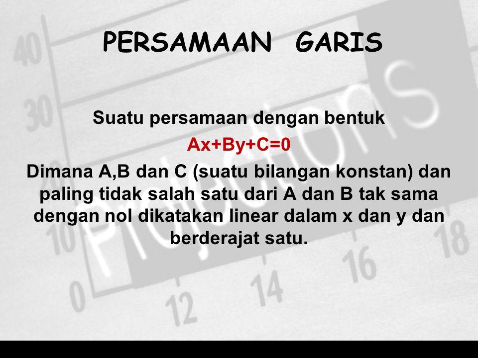 PERSAMAAN GARIS Suatu persamaan dengan bentuk Ax+By+C=0 Dimana A,B dan C (suatu bilangan konstan) dan paling tidak salah satu dari A dan B tak sama dengan nol dikatakan linear dalam x dan y dan berderajat satu.