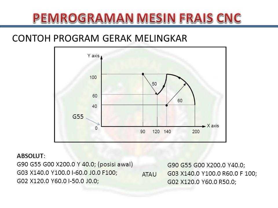 CONTOH PROGRAM GERAK MELINGKAR G55 INKREMENTAL: G90 G55 G00 X200.0 Y 40.0; (posisi awal) G91 G03 X-60.0 Y60.0 I-60.0 J0.0 F100; G02 X-20.0 Y-40.0 I-50.0 J0.0; ATAU G90 G55 G00 X200.0 Y40.0; G91 G03 X-60.0 Y60.0 R60.0 F 100; G02 X-20.0 Y-40.0 R50.0;