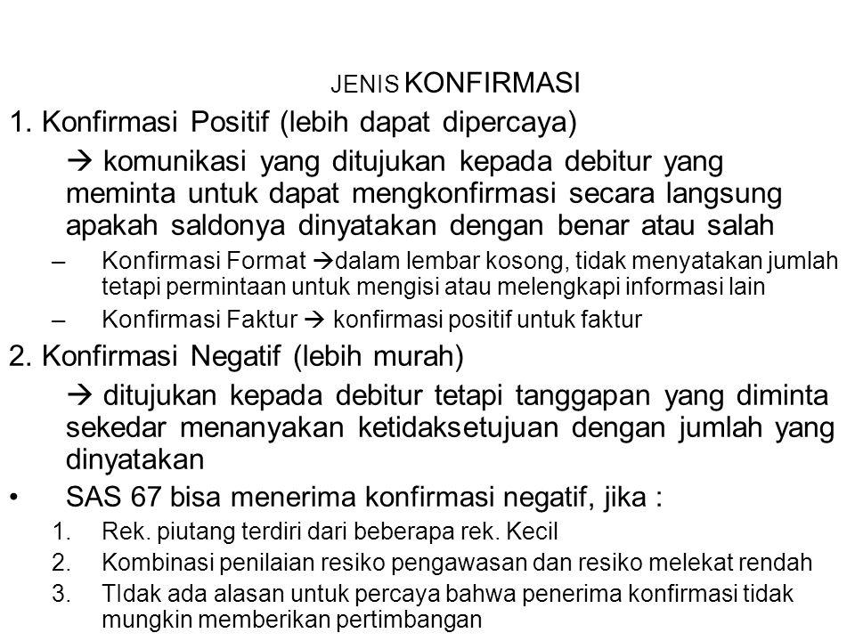 JENIS KONFIRMASI 1. Konfirmasi Positif (lebih dapat dipercaya)  komunikasi yang ditujukan kepada debitur yang meminta untuk dapat mengkonfirmasi seca