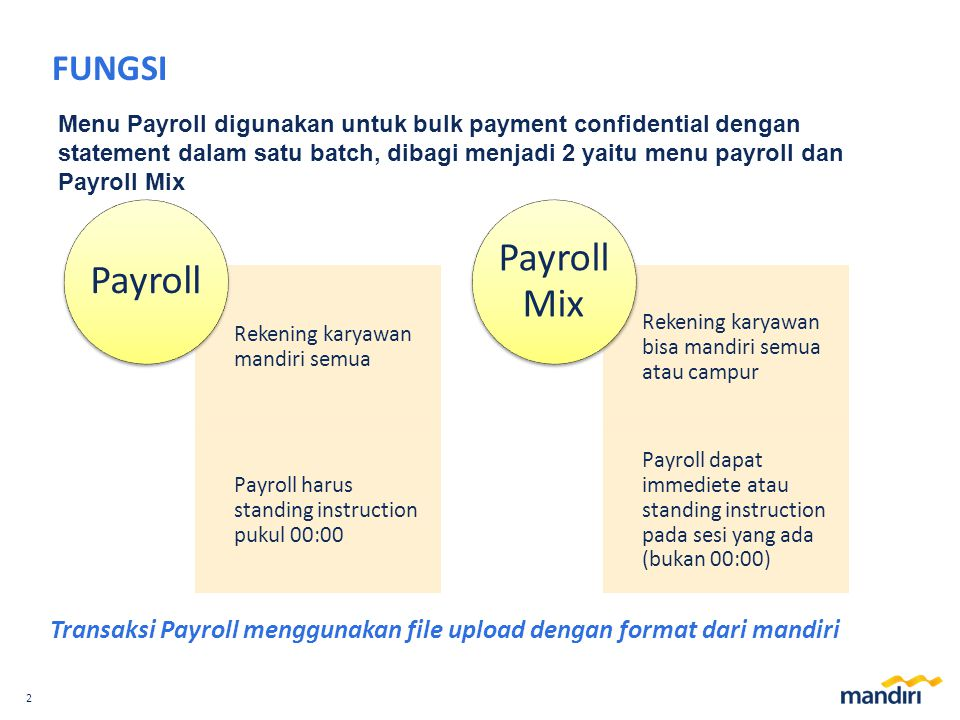 2 FUNGSI Menu Payroll digunakan untuk bulk payment confidential dengan statement dalam satu batch, dibagi menjadi 2 yaitu menu payroll dan Payroll Mix