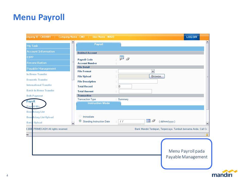 4 Menu Payroll Menu Payroll pada Payable Management