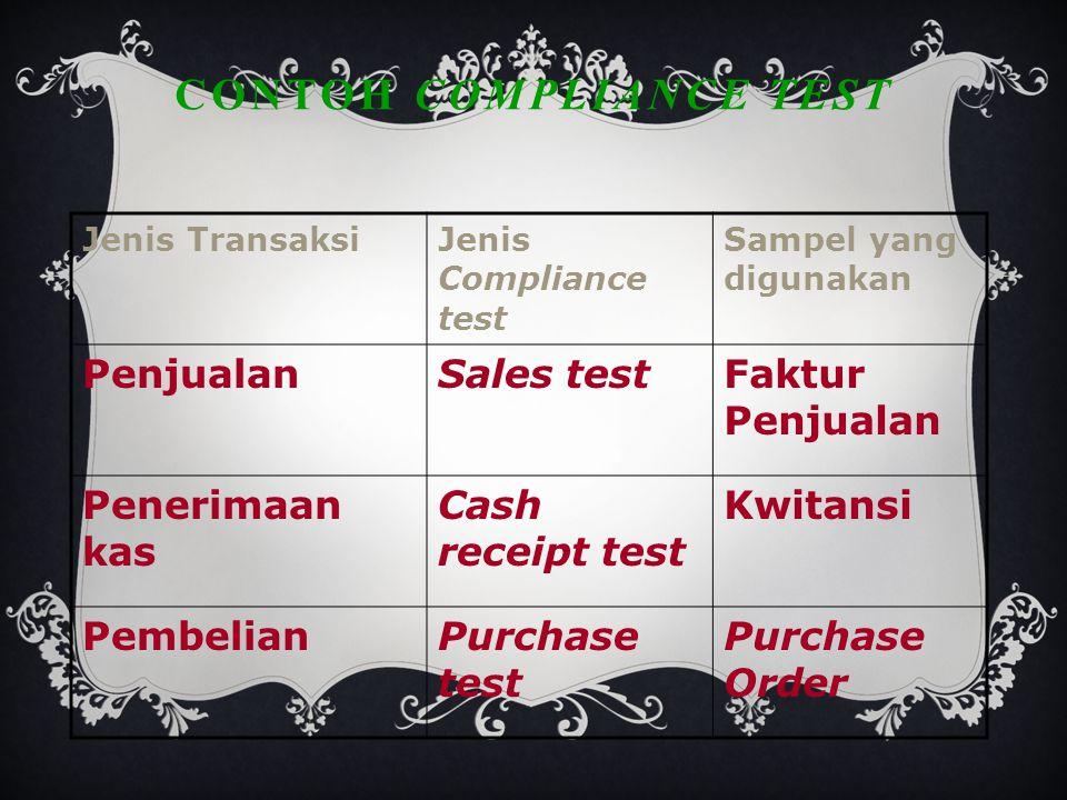 CONTOH COMPLIANCE TEST Jenis TransaksiJenis Compliance test Sampel yang digunakan PenjualanSales testFaktur Penjualan Penerimaan kas Cash receipt test Kwitansi PembelianPurchase test Purchase Order