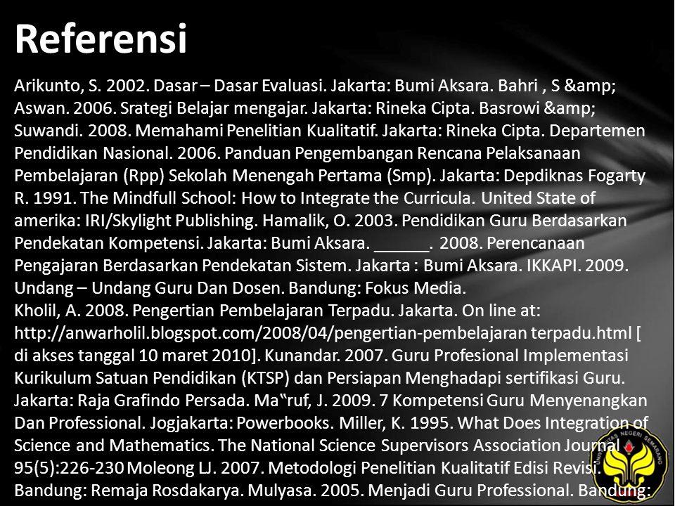 Referensi Arikunto, S. 2002. Dasar – Dasar Evaluasi. Jakarta: Bumi Aksara. Bahri, S & Aswan. 2006. Srategi Belajar mengajar. Jakarta: Rineka Cipta