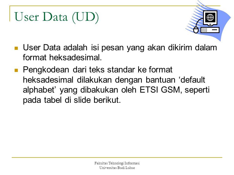 Fakultas Teknologi Informasi Universitas Budi Luhur User Data (UD) User Data adalah isi pesan yang akan dikirim dalam format heksadesimal. Pengkodean