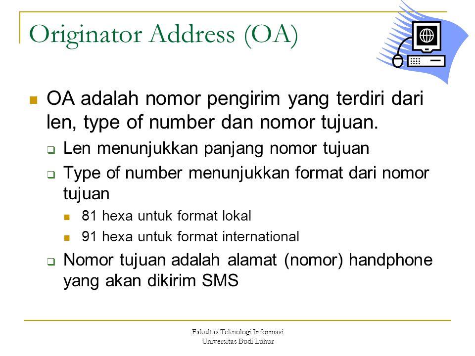 Fakultas Teknologi Informasi Universitas Budi Luhur Originator Address (OA) OA adalah nomor pengirim yang terdiri dari len, type of number dan nomor t
