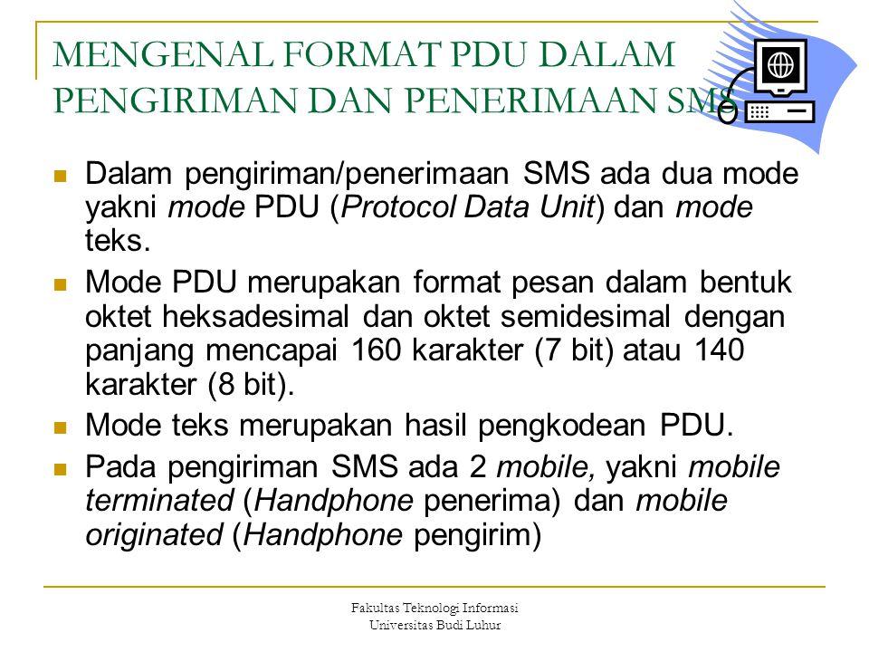Fakultas Teknologi Informasi Universitas Budi Luhur MENGENAL FORMAT PDU DALAM PENGIRIMAN DAN PENERIMAAN SMS Dalam pengiriman/penerimaan SMS ada dua mo