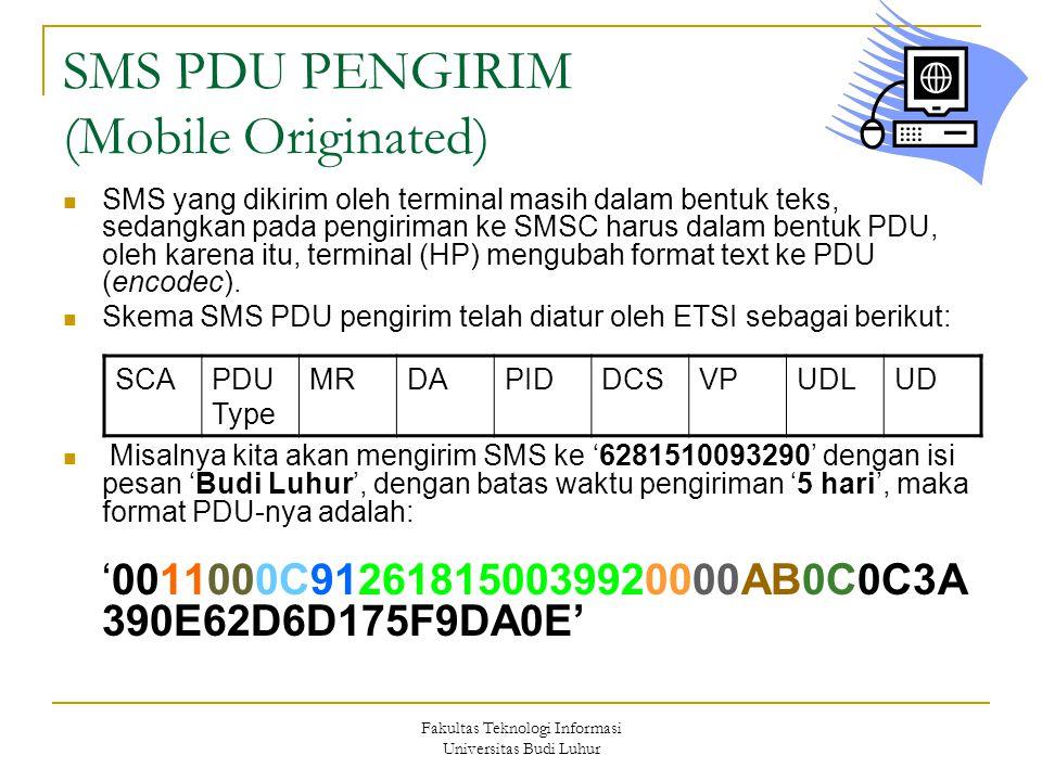 Fakultas Teknologi Informasi Universitas Budi Luhur SMS PDU PENGIRIM (Mobile Originated) SMS yang dikirim oleh terminal masih dalam bentuk teks, sedan