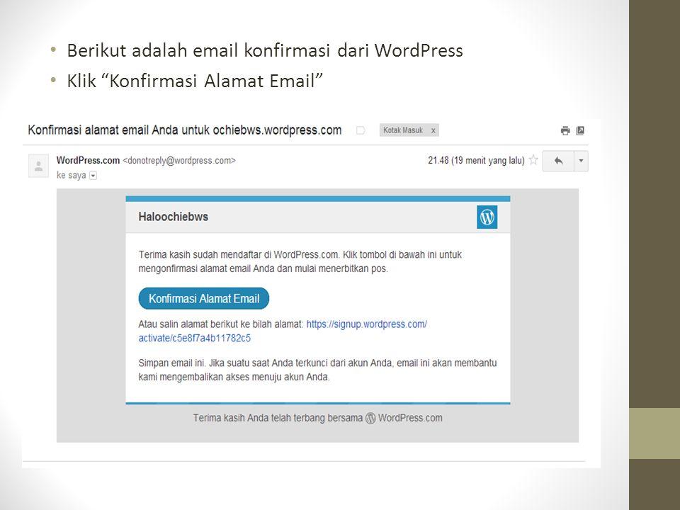 Berikut adalah email konfirmasi dari WordPress Klik Konfirmasi Alamat Email