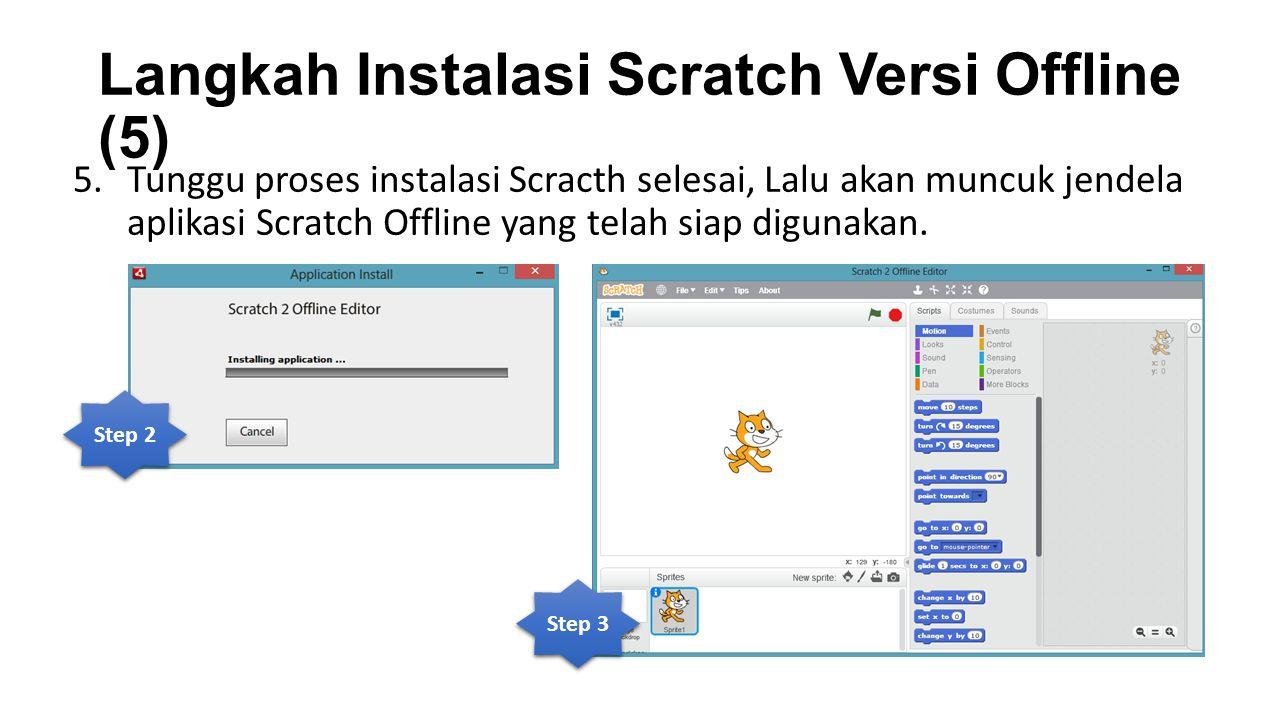 Langkah Instalasi Scratch Versi Offline (5) 5.Tunggu proses instalasi Scracth selesai, Lalu akan muncuk jendela aplikasi Scratch Offline yang telah si