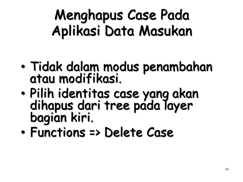 Menghapus Case Pada Aplikasi Data Masukan Tidak dalam modus penambahan atau modifikasi. Tidak dalam modus penambahan atau modifikasi. Pilih identitas