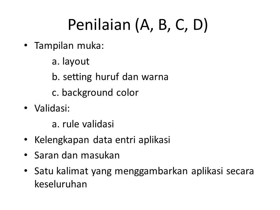Penilaian (A, B, C, D) Tampilan muka: a. layout b. setting huruf dan warna c. background color Validasi: a. rule validasi Kelengkapan data entri aplik