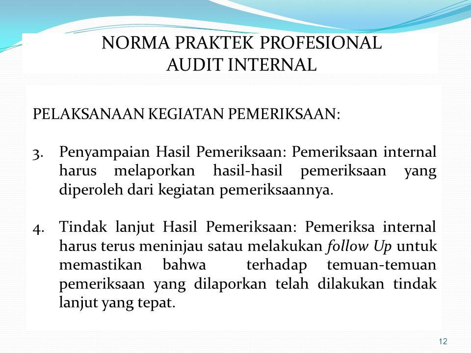 12 PELAKSANAAN KEGIATAN PEMERIKSAAN: 3.Penyampaian Hasil Pemeriksaan: Pemeriksaan internal harus melaporkan hasil-hasil pemeriksaan yang diperoleh dari kegiatan pemeriksaannya.