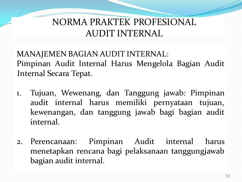 13 MANAJEMEN BAGIAN AUDIT INTERNAL: Pimpinan Audit Internal Harus Mengelola Bagian Audit Internal Secara Tepat.