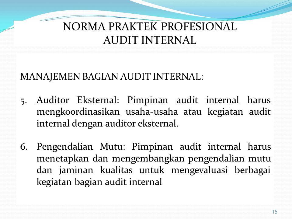 15 MANAJEMEN BAGIAN AUDIT INTERNAL: 5.Auditor Eksternal: Pimpinan audit internal harus mengkoordinasikan usaha-usaha atau kegiatan audit internal dengan auditor eksternal.