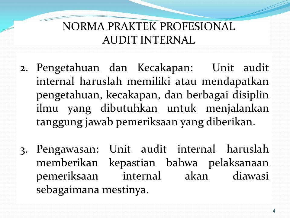 4 2.Pengetahuan dan Kecakapan: Unit audit internal haruslah memiliki atau mendapatkan pengetahuan, kecakapan, dan berbagai disiplin ilmu yang dibutuhkan untuk menjalankan tanggung jawab pemeriksaan yang diberikan.