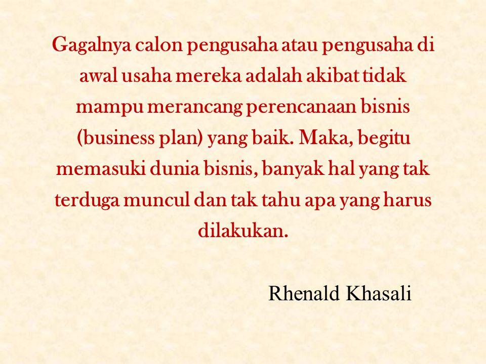 Gagalnya calon pengusaha atau pengusaha di awal usaha mereka adalah akibat tidak mampu merancang perencanaan bisnis (business plan) yang baik. Maka, b